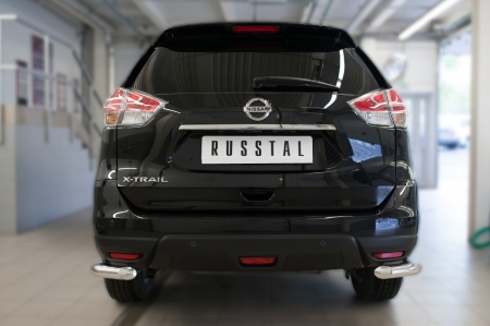 Nissan X-Trail 2015 Защита заднего бампера уголки d63(секции) NXZ-002095